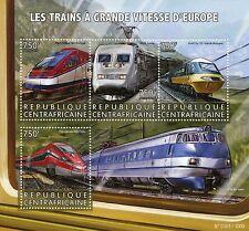 República Centroafricana 2015 estampillada sin montar o nunca montada europeo trenes de alta velocidad 4v m/s interurbano