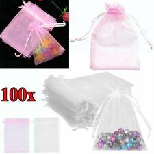100x Organza bolsa boda joyería caramelo Bolsa fiesta regalo bolsa Multi tamaño
