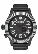 NIXON 51-30 Leather SW Watch - A1063SW 2444-00 - Kylo Black