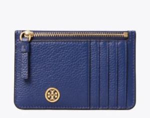 Tory Burch Walker Top-Zip Card Case Leather Midnight Swim Blue Navy New NWT $98
