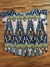 B. Jewel multicolor crop short sleeve shirt, women's junior size L