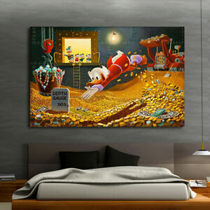 Canvas Art Print Disney Painting Duck Donald Wealth Home Wall Decor 20x26