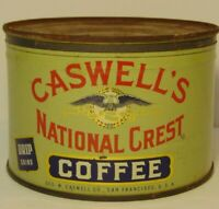 Vtg 1950s CASWELL'S COFFEE GRAPHIC COFFEE TIN ONE POUND SAN FRANCISCO CALIFORNIA