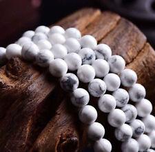 "Natural 8MM Turkey Howlite White Turquoise Round Gemstone Loose Beads 15"" JL554"