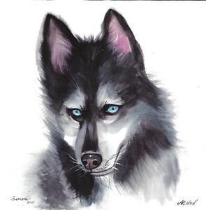 original painting 30 x 30 cm 402LM art Watercolor animal dog Siberian Husky