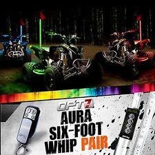 AURA 6ft Multi-Color LED Whip PAIR Flag Antenna Offroad 4x4 ATV Side x Sandrail