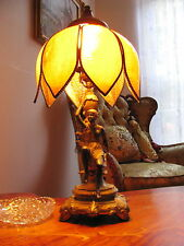 Antique French Art Nouveau Figural Table Lamp Sexy Lady Glass shade fixture