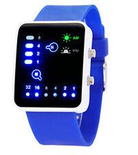 LED Orologio Digitale binaria da uomo moda casual sport orologi da polso Blu UK Venditore