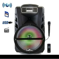 beFree Sound 12 Inch Bluetooth Rechargeable Portable PA Party Speaker with React