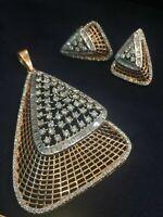 Pave 5,14 Cts Runde Baguette Cut Diamanten Anhänger Ohrringe Set In 585 14K Gold