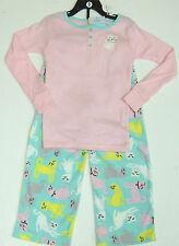 CARTER'S FILLE 2 Pce Cat Pyjamas Set Rose Top, Menthe Polaire Pantalon De 4 Ans BNWT