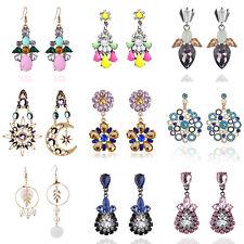 Retro Fashion Charm Lady Resin Crystal Flower Ear Stud Dangle Earrings Jewelry