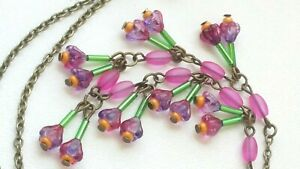 Czech Tiny Bi Colour Flower Glass Bead Necklace Vintage Deco Style