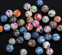 Hot sale 40Pcs Mixed Color Polymer Clay Fimo Flower Round Loose Spacer Beads 8mm