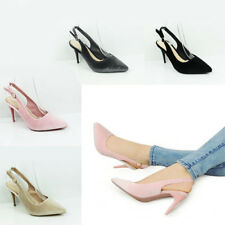 WOMENS POINTED TOE SLINGBACK MID HIGH STILETTO HEEL COURT SHOES SANDALS SIZE 3-8