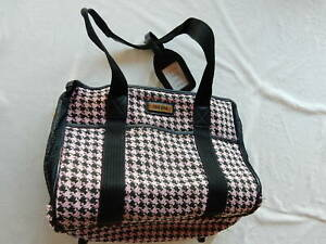 Sherpa Pet Carrier 14x12x7 Pink & Black Hounds-tooth Town & Country Bag