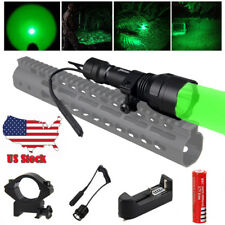Tactical 5000 LM Green Q5 LED Hunting Flashlight Torch 18650 Scope Mount Rifle
