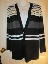 *NEW* EXCLUSIVELY MISOOK BLACK STRIPED VNECK 2 BUTTON JACKET~SMALL