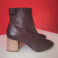 NEXT Soft Leather Block Heel Side Zip Up Ankle Boots UK 5 EUR 38 BNWT £65