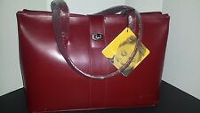 NWT FRANKLIN COVEY Large RED LEATHER PURSE Bag BRIEFBAG Laptop Case