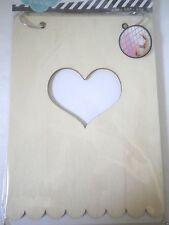 """Heidi Swapp Scrapbooking Heart Wood Album 5.5"""" x 7.5"""" NEW"""