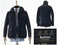 Mens BARBOUR INTERNATIONAL Hooded Motorcycle Jacket Coat Wax Waxed Black Size M