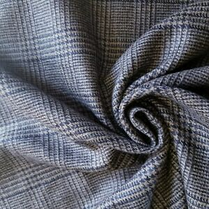 Navy, Cream, Tan, Grayed Glen Plaid Wool Suiting from England!