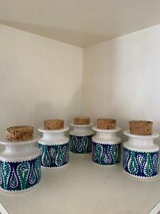 1960's Portmeirion Monte Sol Spice / Herb jars x 5 Mid Century vintage jars