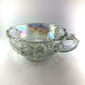 L.E. Smith Nappy Dish Clear Iridescent Carnival Glass Quintec Hobstar Vintage