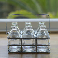 Set Of 6 School Milk Bottles In Crate Flower Vase Drinking Glass