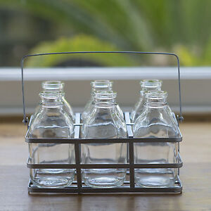 X1 SET 6 SCHOOL MILK BOTTLES IN SILVER CRATE FLOWER BUD VASE DRINKING GLASS