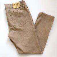 Escada Mid Rise Skinny Crop Ankle Zip Jeans Savannah Tan Sz EU38 US8