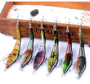6PCS Bass Swimbaits Multi Jointed Fishing Lure Pike Colorful Panfish Fishing Bai