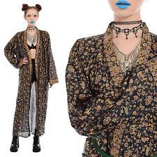 Vtg 70s India Metallic ELEPHANT Duster Robe Kimono Jacket Ethnic Boho Long Gypsy