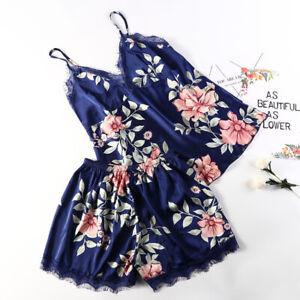 Women's Print Top and Shorts Pajama Set Silk Lace Summer Loose Soft Sleepwear
