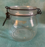 Triomphe 1/2 L Clear Glass Jar with Hinged Lid - Made in France