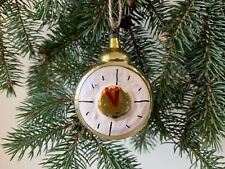 Vintage Soviet USSR Russian Old Clock Painted Glass Christmas Ornament Xmas Tree