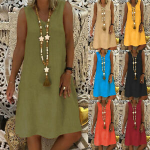 UK Summer Womens Cotton Blend V-neck Sleeveless Baggy Sun Dress Plus Size 6 - 24