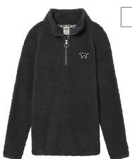 Victoria's Secret Pink Sherpa Boyfriend Quarter Zip Pullover Dark Gray Grey S