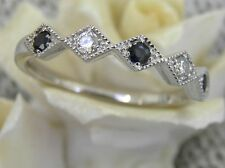 VINTAGE STYLE RING 14KT SOLID WHITE GOLD DIAMOND AND SAPPHIRE DECO WEDDING BAND