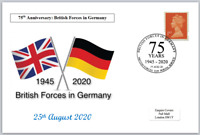 2020 75th anniv british forces in germany militaria flags postal card 150 x 100
