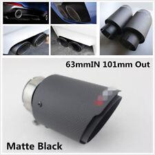 1X 63-101mm Universal Real Carbon Fiber Matte Black Car Exhaust Muffler Pipe Tip