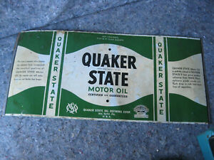 Vintage Quaker State 5 qt Unrolled Tin Can Sign #2
