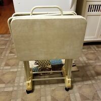 4 Vintage OffWhite Cosco Vinyl Top Folding TV Dinner Tray Tables w/Storage Rack