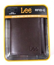 LEE Men's Leather Trifold Wallet RFID Blocking Brown New NWT