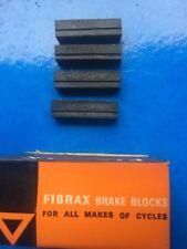 NEW OLD STOCK 4 X VINTAGE FIBRAX No.3 BRAKE BLOCKS-FOR STIRRUP BRAKES FLAT TOP
