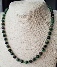 """Ladies Necklace Ruby Zoisite & Peridot Gems 17"""" 14K Gold Filled FQli Handmade"""