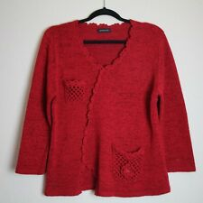 Rred Jumper With Flower and crochet pockets Jenny Loyd szie 12 Acrylic