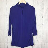 Susan Graver Size XL Top Blouse Blue Key Hole Cinched Waist Mock Neck 3/4 Slv