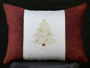 New Embroidered Burgundy and White Christmas Tree Accent Pillow Christmas Pillow